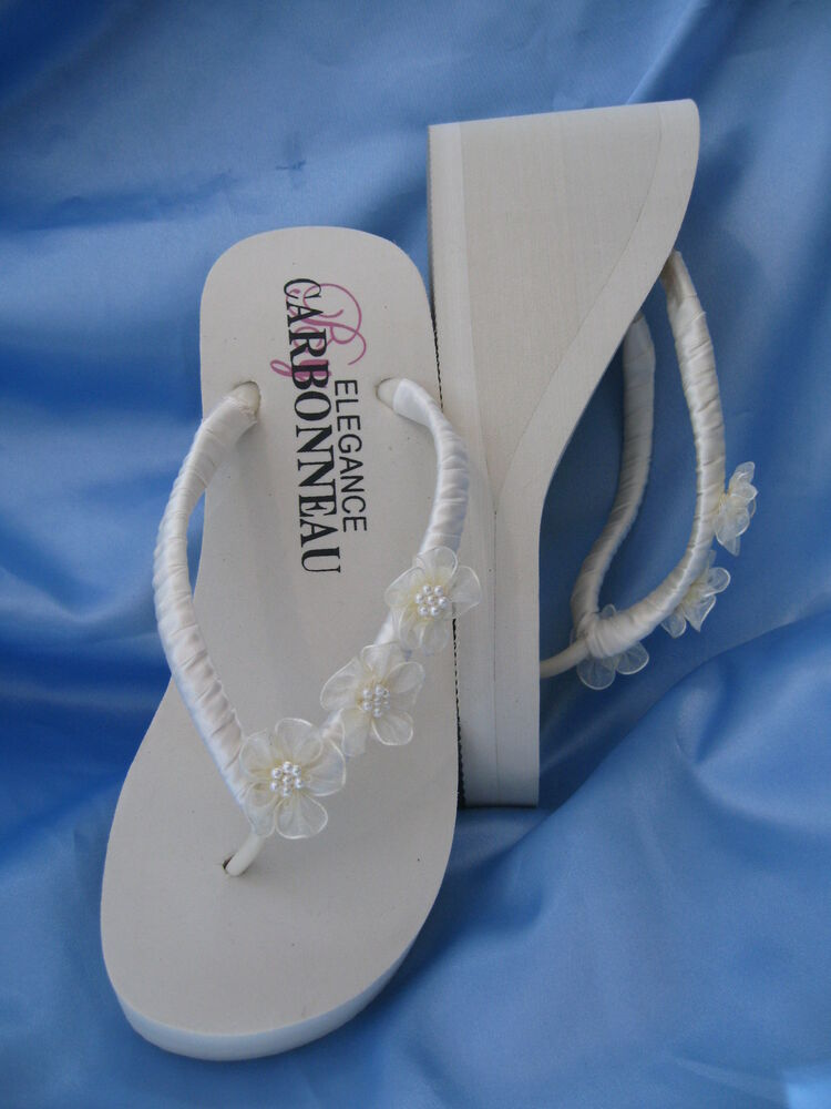 wedding shoes wedge ivory wedge flip flop ivory bridal sandals ebay 1135