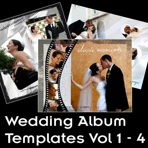 Wedding album photoshop multilayered templates vol 1 4 ebay for Wedding photo album templates in photoshop