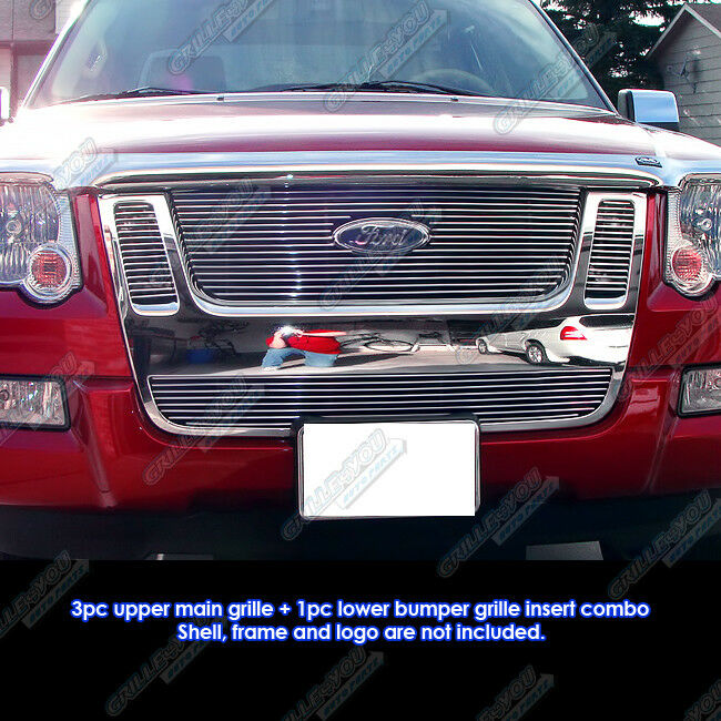 fits 07 10 ford explorer sport trac billet grille combo ebay. Black Bedroom Furniture Sets. Home Design Ideas
