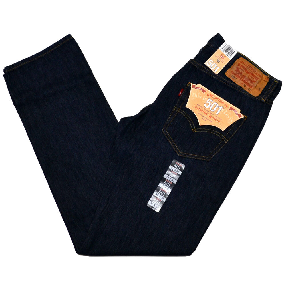 Levis 501 Jeans Mens Original Fit Button Fly Rinsed Indigo ...