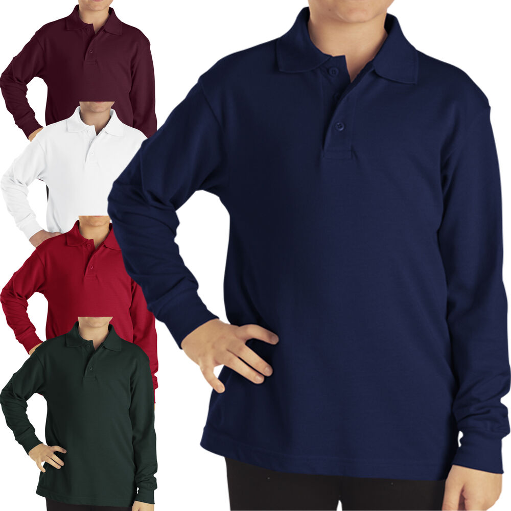 Dickies Polo Shirts Boys Long Sleeve Pique Top Kids School