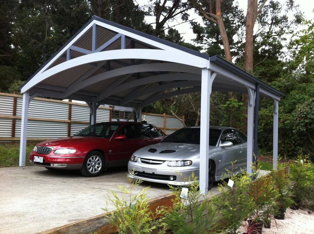 Double carports attractive timber complete kits ebay for Attractive carport