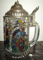 VTG BMF WEST GERMANY GLASS BEER STEIN with PEWTER LID