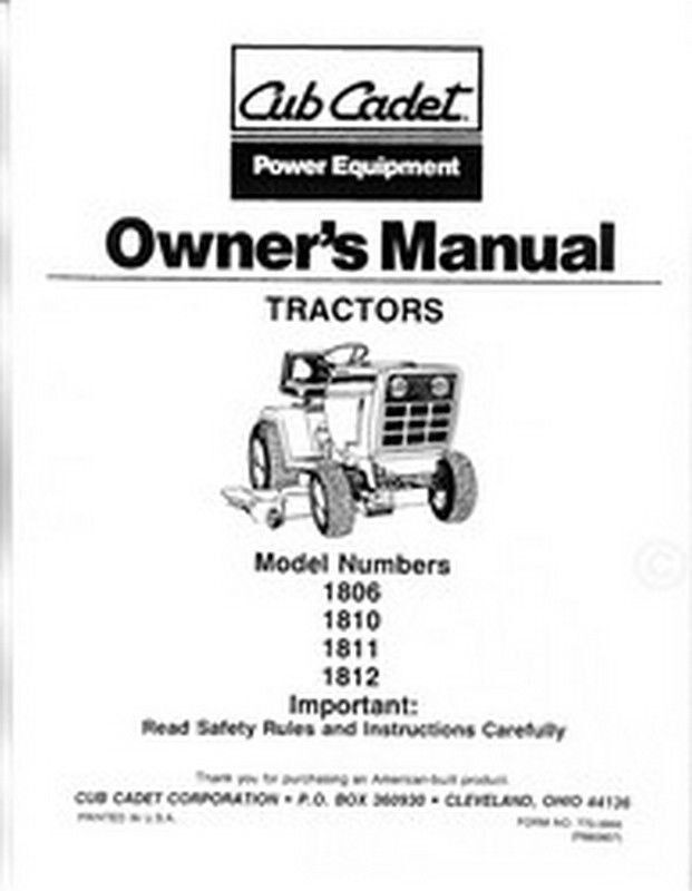 Cub Cadet 1806 1810 1811 1812 Owners Operators Manual