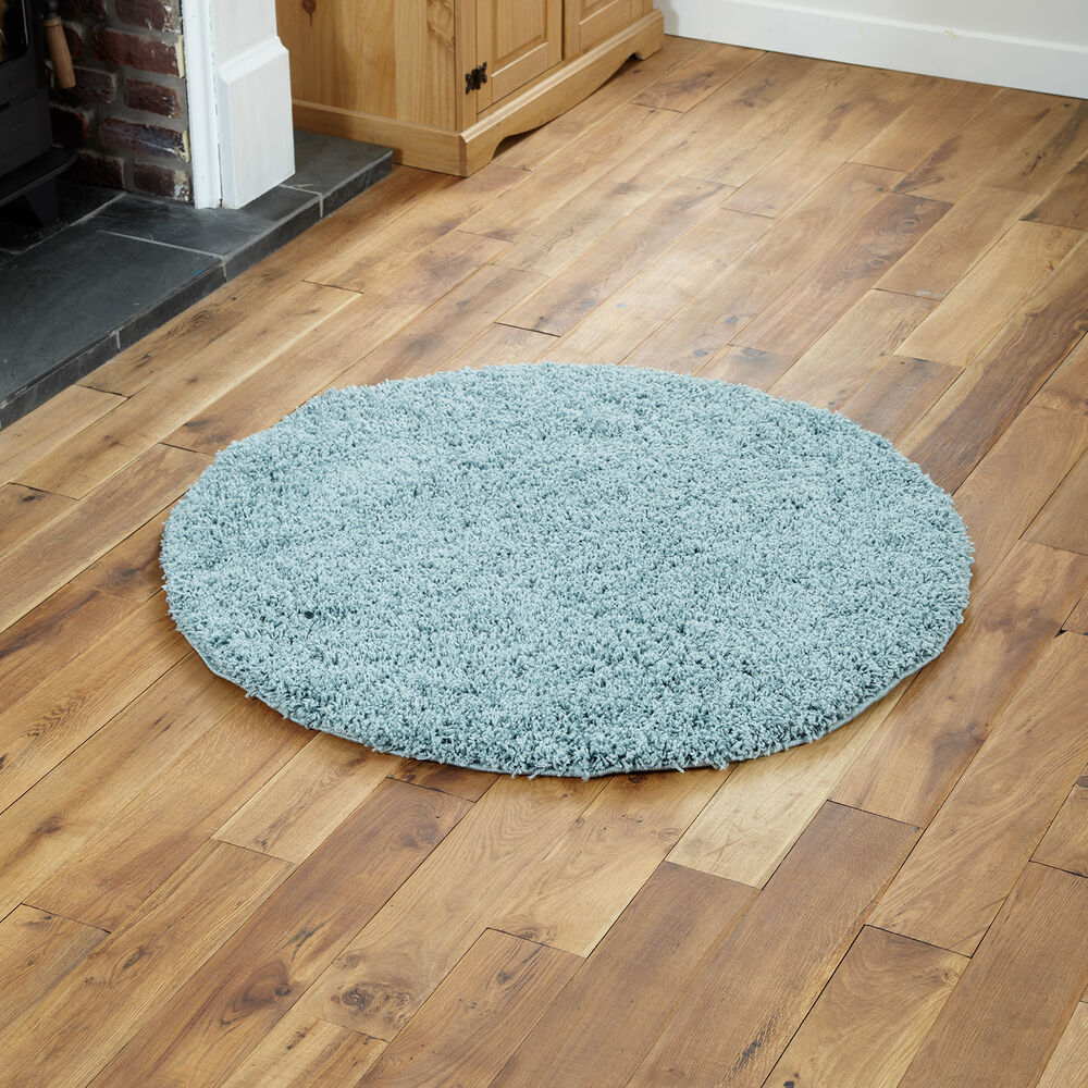 LARGE THICK CIRCLE ROUND DUCK EGG TEAL BLUE SHAGGY RUG