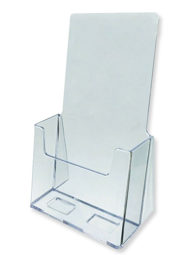 Acrylic literature brochure holder for 4x9quot 25 pack ebay for Plastic flyer stand