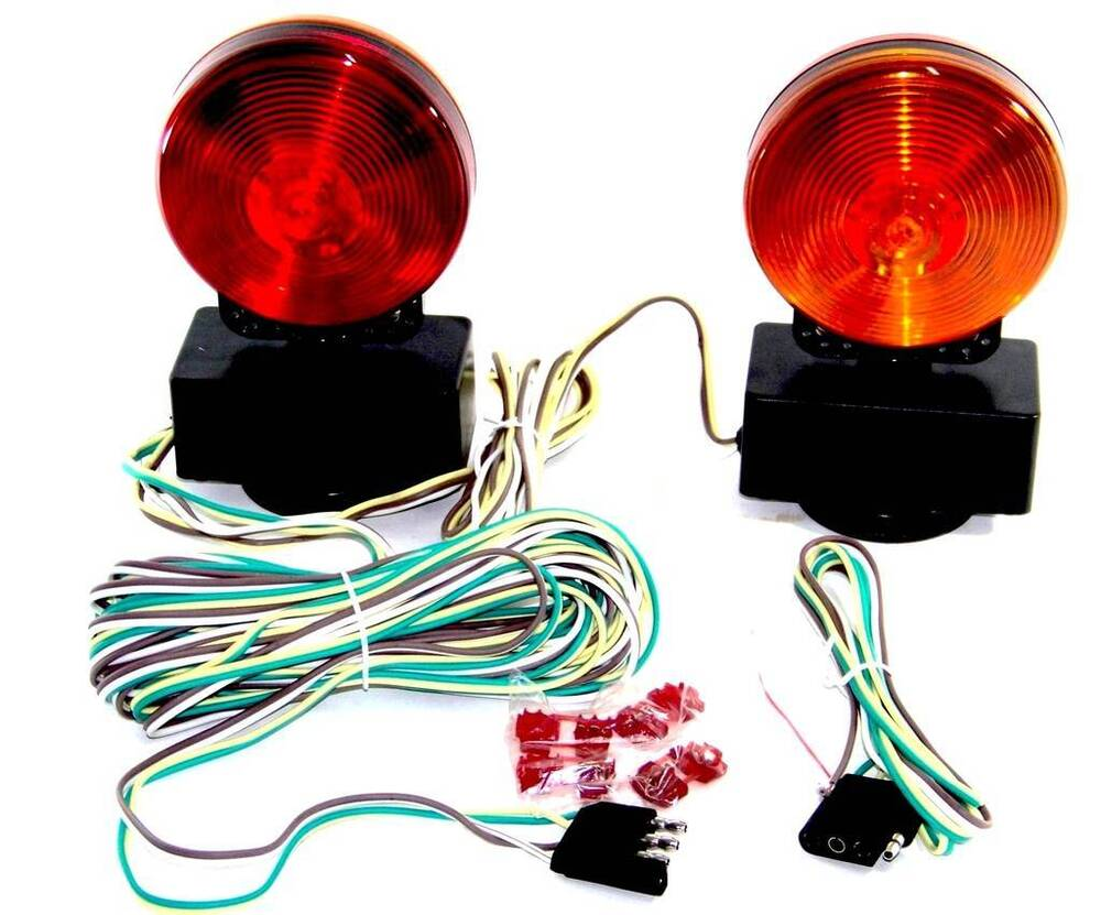 magnetic tow light kit 3 in 1 towing trailer truck signal lights 12v ebay
