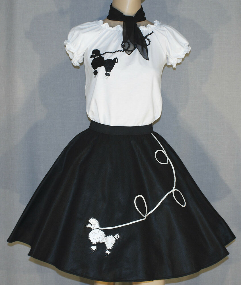 3 PC Black 50's Poodle Skirt outfit Girl Sizes 4,5,6