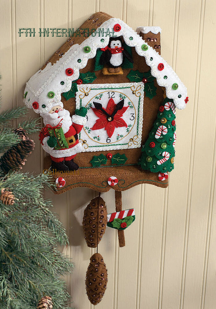 Bucilla Christmas Time Clock Felt Wall Hanging Kit