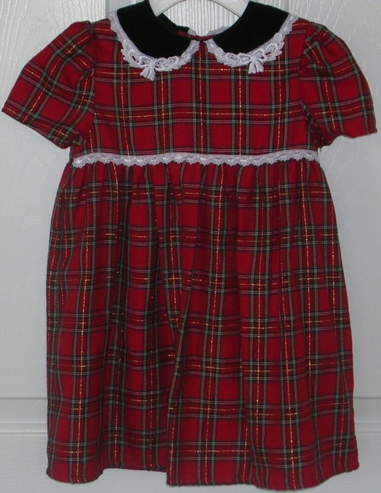 Youngland girls dress red green plaid size 4t church christmas