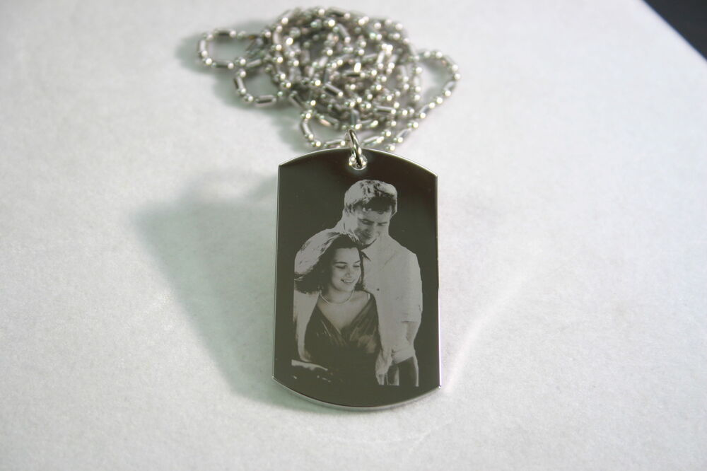 Picture Stainless Steel Dog Tag Pendant Necklace Double