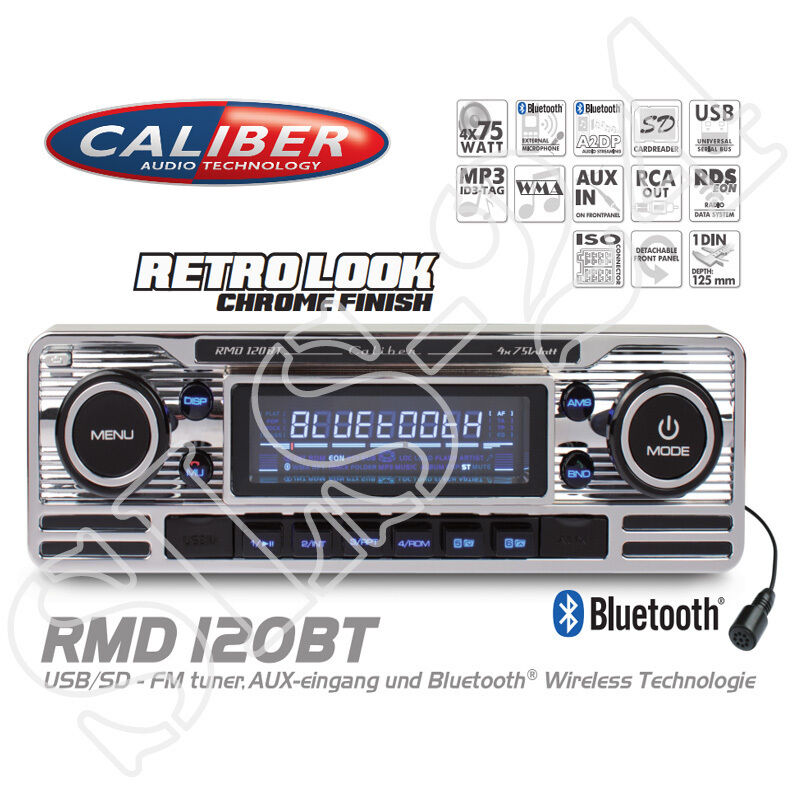 caliber rmd120bt rds retro look radio mit bluetooth mp3 usb sd autoradio ohne cd ebay. Black Bedroom Furniture Sets. Home Design Ideas