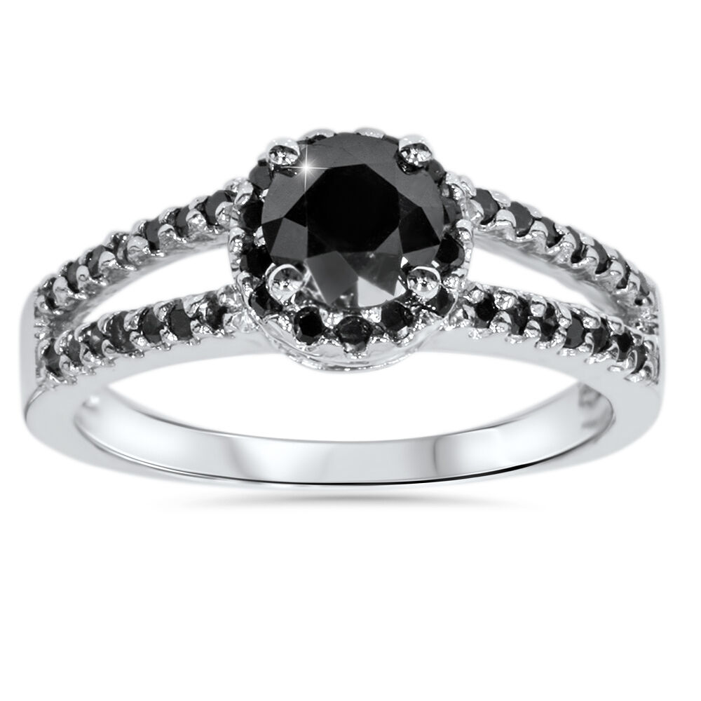 1 5 8ct treated black diamond pave halo engagement ring. Black Bedroom Furniture Sets. Home Design Ideas
