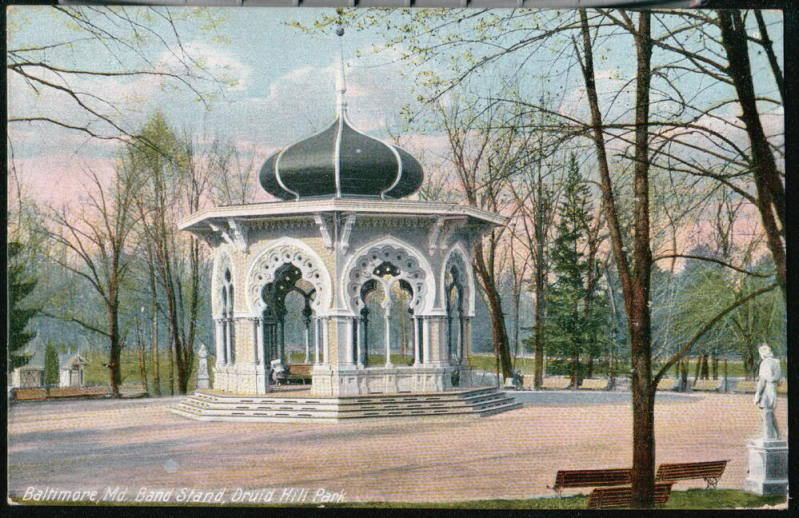 Baltimore md druid hill park band stand antique postcard old 1910