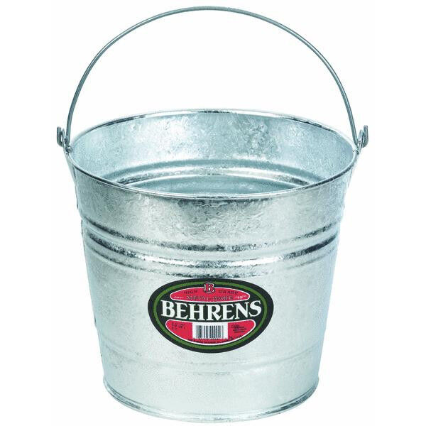 Behrens Galvanized Metal 10 Qt Water Bucket Pail Tub 10
