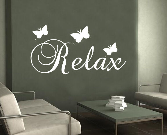 Relax butterfly wall art sticker bedroom bathroom large for Bathroom wall decor uk