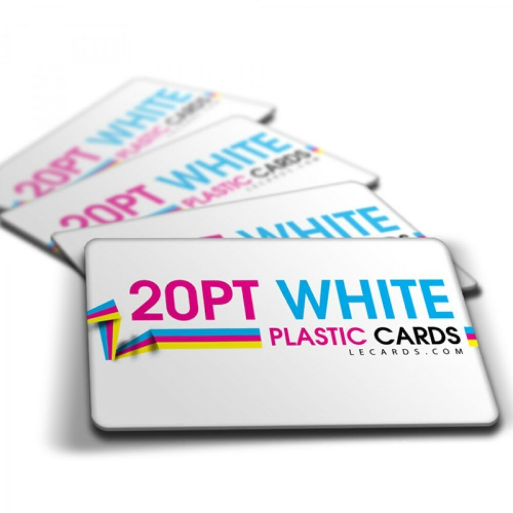 1000 Full Color Printed 2 Sides WHITE PLASTIC Business