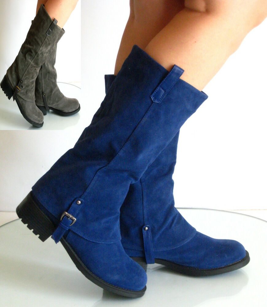 new womens low flat heel mid calf boots bamboo