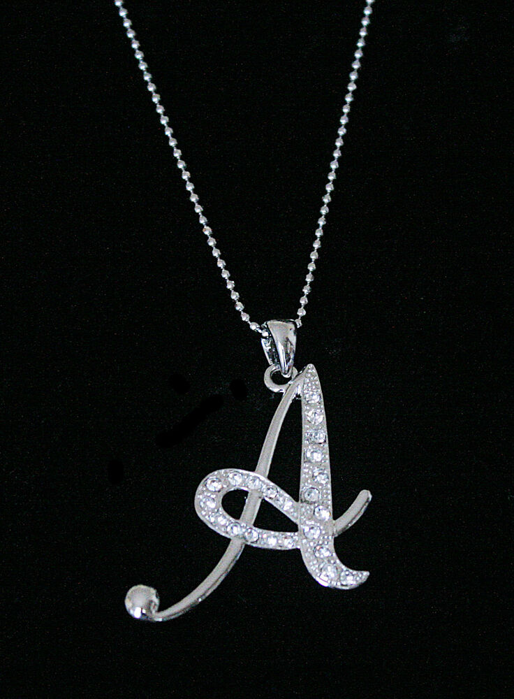 quotaquot letter initial alphabet pendant charm necklace clear With large letter charms