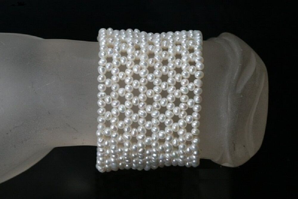 White Seed Bead Pearl Stretch Bracelet No Clasp Hand