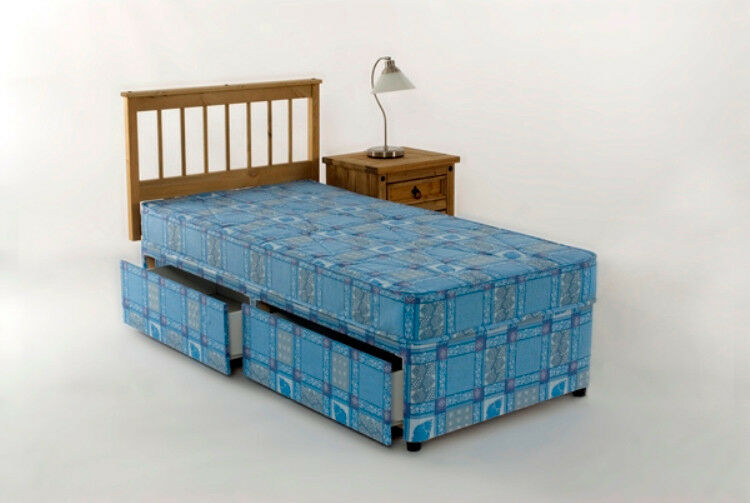 Single divan bed mattress 3ft tanya 2 drawer storage ebay for Single divan with drawers and headboard