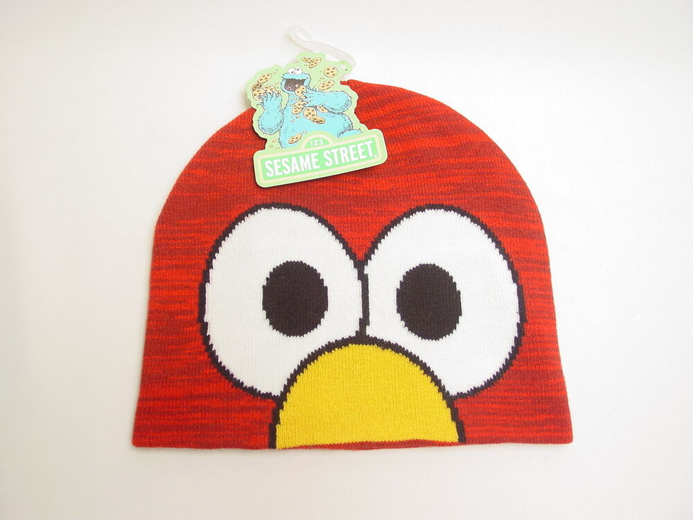 Sesame Street Knit Beanie with Elmo Face ! Licensed ! ( Hat Cap ) eBay