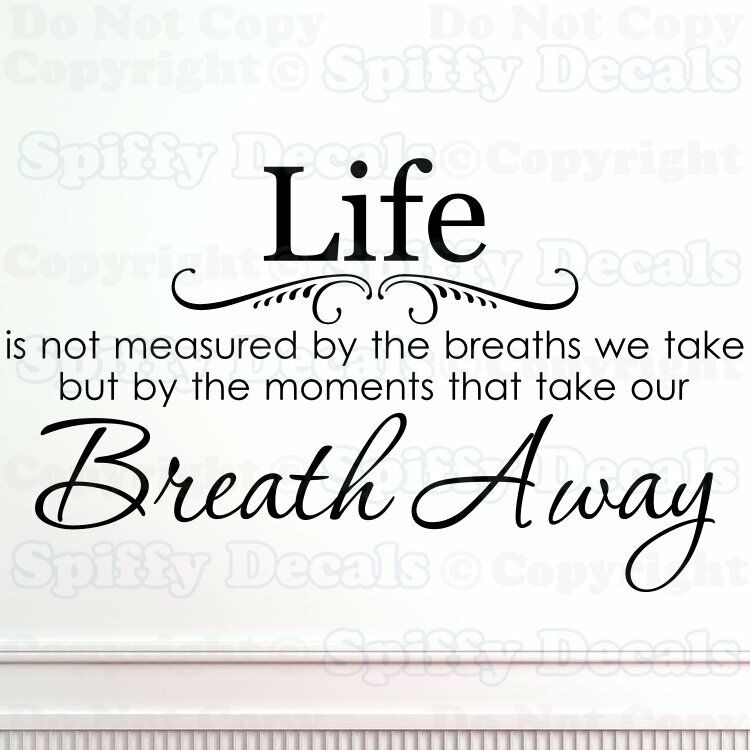 Aerosmith Breathing Quote Vinyl Wall Art Sticker Decal: LIFE IS NOT MEASURED BY BREATHS WE TAKE BREATH AWAY Quote