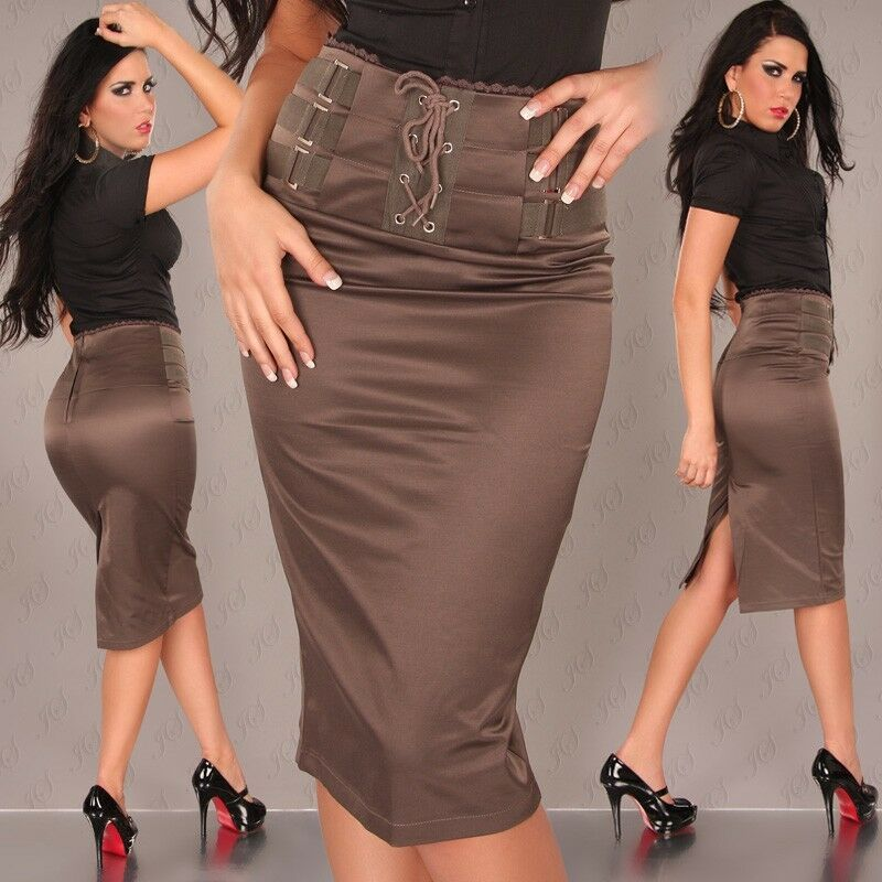 NEW SEXY HIGH WAISTED PENCIL SKIRT SIZES 8-14 BLACK/BROWN/RED ...