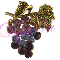 GOLD PLATED CRYSTAL PURPLE GRAPE BROOCH PIN MADE WITH SWAROVSKI ELEMENTS