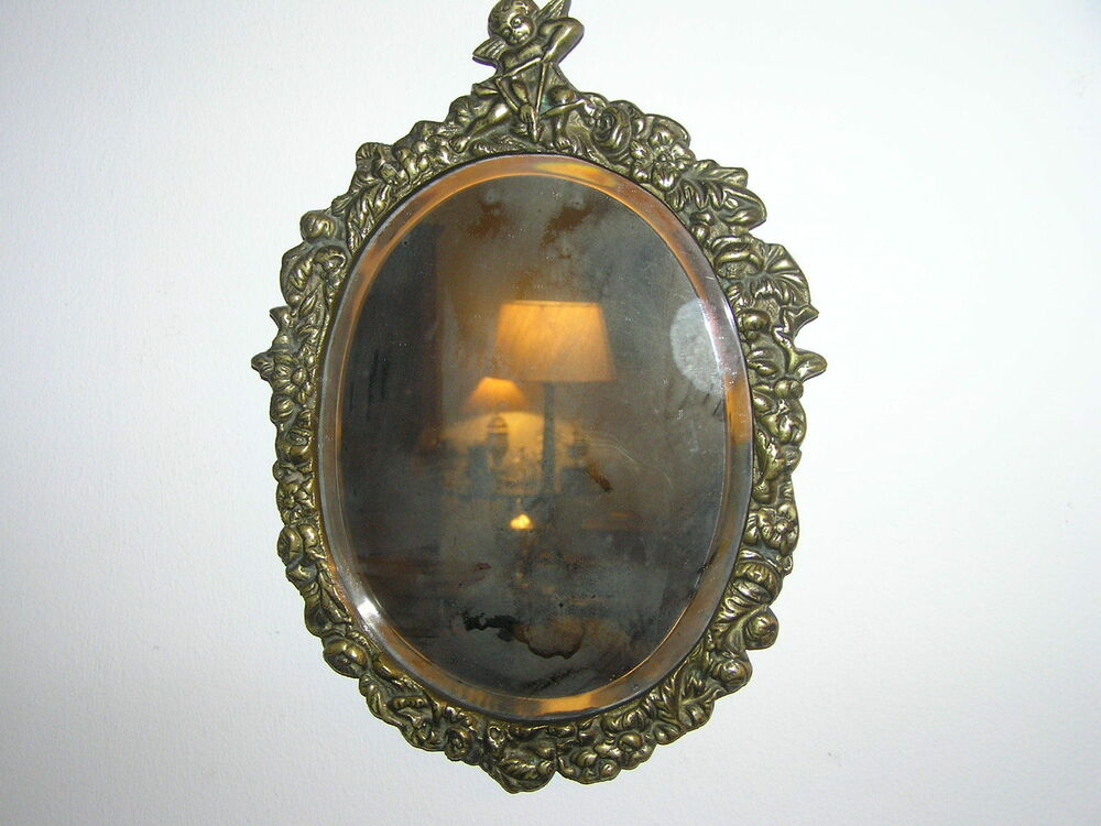 Antique Brass Wall Mirror Beveled Ebay