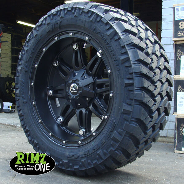 20 u0026quot  fuel off road hostage black nitto trail grappler mt 305  55r20 33 u0026quot  mud tires
