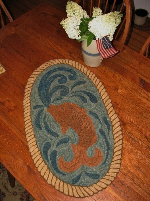 PRIMITIVE HOOKED RUG PATTERN ON MONKS u0026#034;FARM FRIENDS SERIES SHEEPu0026#034;  | eBay