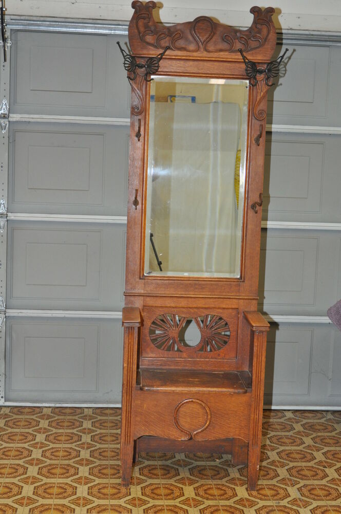 Antique Oak Entry Hall Tree With Storage Bench Beveled Mirror Butterfly Hook Ebay