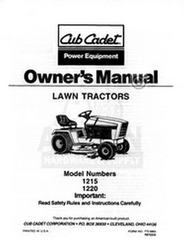 ih cub cadet model 1215 1220 tractor owners operators