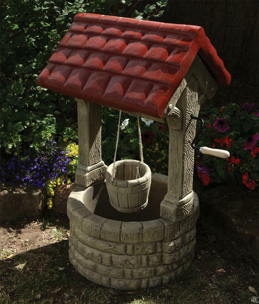 large garden ornaments stone wishing well feature ebay. Black Bedroom Furniture Sets. Home Design Ideas