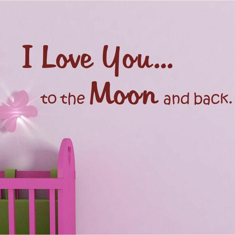 i love you to the moon and back baby kids quote vinyl wall. Black Bedroom Furniture Sets. Home Design Ideas