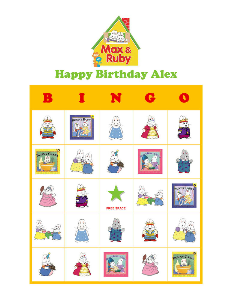 Details About Max And Ruby Nick Jr Personalized Birthday Party Game Bingo Cards