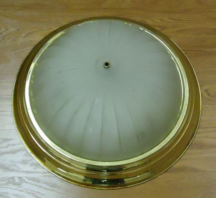 Dome Light Fixture 15 1/2in Frosted Glass Gold Color Metal