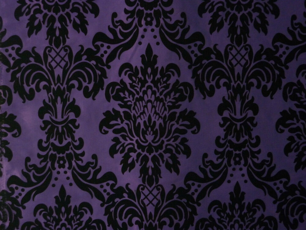 purple amp black damask design taffeta amp flock curtain