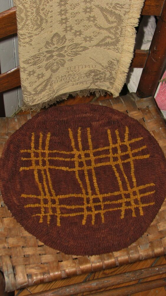 Primitive Hooked Rug Pattern On Monks Quot Redware Chair Pads