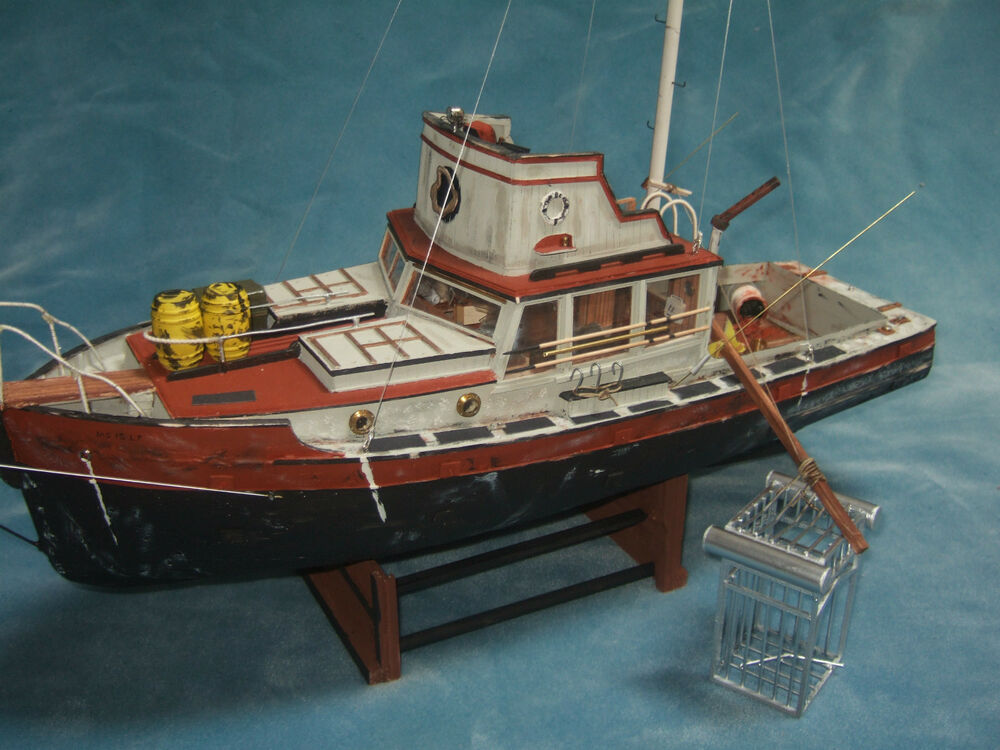 JAWS ORCA Wooden Model Boat Wood Lobster Fishing Trawler Ship Shark Lobsterboat | eBay