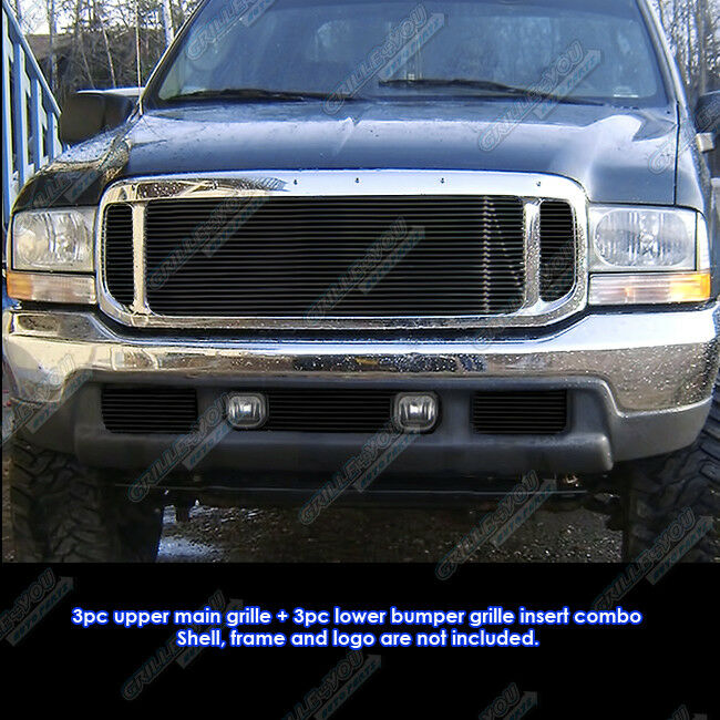 99-04 Ford F250/F350/2000-04 Excursion Black Billet Grille Grill Combo Insert | eBay