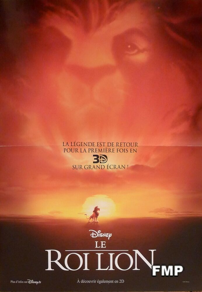 THE LION KING 3D - DISNEY - ORIGINAL SMALL FRENCH MOVIE ...