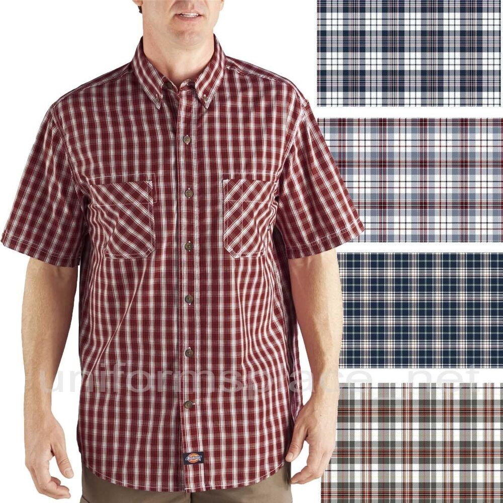 Dickies shirts short sleeve plaid button down work shirt for Where to buy button down shirts