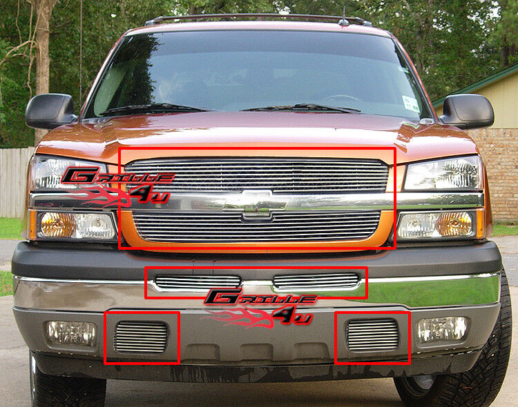 fits 03 05 silverado 1500 03 04 2500 hd billet grille combo ebay. Black Bedroom Furniture Sets. Home Design Ideas