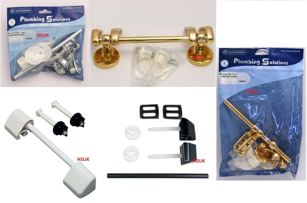 WHITE BLACK PLASTIC OR CHROME BRASS BAR TYPE TOILET SEAT HINGES FITTING SCREW