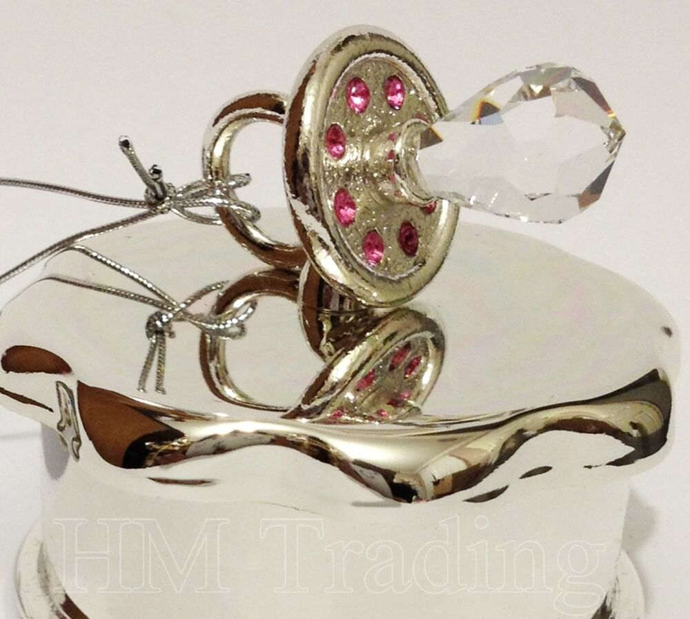 Baby Girl Christening Favors Glass Ornament: Crystal Pink Baby Girl Silver Plated Dummy Ornament