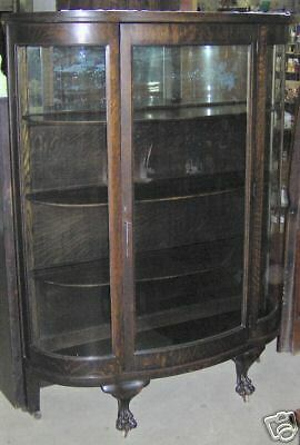 Original Finish Oak Antique Curved Glass China Cabinet