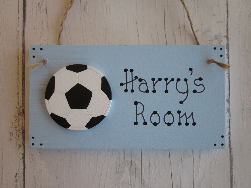 Football personalised name boys girls bedroom door sign for Door name signs