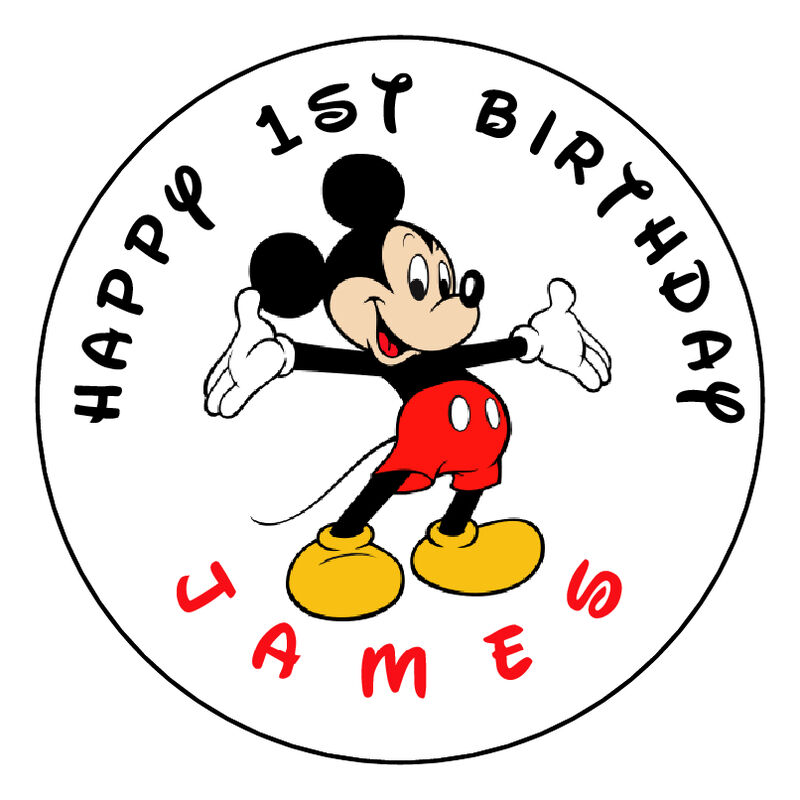 """First Birthday Boy Party Loot Bag Single: Mickey Mouse Birthday Personalized 2.5"""" Round Labels"""